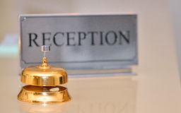 Reception bell and card sign Stock Photography