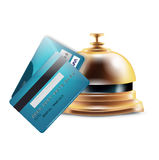 Reception bell with credit cards Stock Image