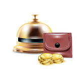 Reception bell with wallet and golden coins Royalty Free Stock Photography
