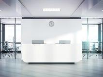 Reception bianca in bianco in ufficio concreto con la grande rappresentazione del modello 3D delle finestre illustrazione vettoriale