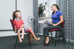 Psychologist reception child professional support. Reception at a child women psychologist. adult professional support for littles. children`s mental health stock image