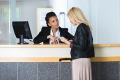 At the reception desk. Reception royalty free stock images