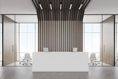 Reception desk and black pipes, front Royalty Free Stock Images