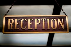 Reception desk label Royalty Free Stock Images