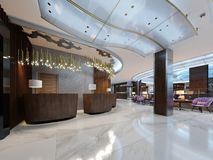 Reception desk with lobby entrance and lounge area royalty free illustration