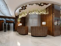 Reception desk with lobby entrance and lounge area vector illustration