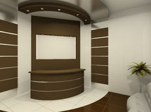 Reception desk in modern room. Reception area in an office interior. Construction of the ceiling Stock Illustration