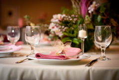 Reception Dinner. Individual pink party place setting Royalty Free Stock Photography