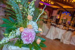 Reception flower arrangements. Flower arrangements with set pieces Royalty Free Stock Photography