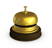 Reception golden bell. One 3d render of the golden bell used at the hotel receptions Royalty Free Stock Images