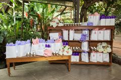 Reception hall, corner of the room decorated with gifts for party guests