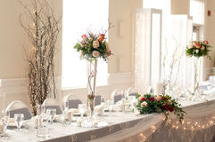 Reception head table stock photography