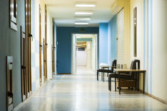 Reception in hospital with corridor Stock Photos