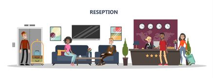Reception at hotel. Reception at hotel with staff and visitors on white vector illustration