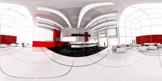 Reception in hotel spherical panorama Royalty Free Stock Image