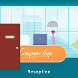 Reception Interior Concept Vector In Flat Design. Royalty Free Stock Image