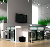 Reception in modern hotel. 3d image Stock Photos