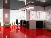 Reception in modern hotel. ASed 3d image