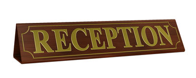 Reception nameplate. One 3d render of a wooden nameplate with the word reception Stock Images