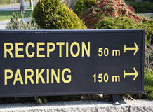 Reception and parking sign Royalty Free Stock Photography