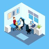 Reception At Pediatrician Isometric Design. With doctor woman and child on couch in counsulting room vector illustration Royalty Free Stock Photos