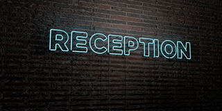 RECEPTION -Realistic Neon Sign on Brick Wall background - 3D rendered royalty free stock image Royalty Free Stock Photo
