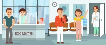 Reception Room at Clinic. Vector Flat Illustration stock illustration