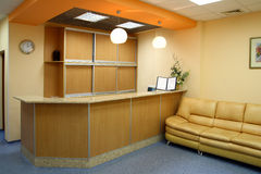 Reception room interior. With counter and sofa Royalty Free Stock Photography