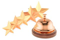 Reception Service Bell with Five Stars Rating, 3D rendering. Isolated on white background stock illustration