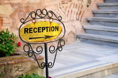 Reception sign. In a hotel Stock Photos