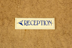 Reception sign Stock Photo