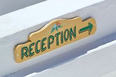 Reception sign Stock Image