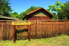 Reception sign in camp's park Royalty Free Stock Photo