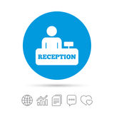 Reception sign icon. Hotel registration table. Reception sign icon. Hotel registration table with administrator symbol. Copy files, chat speech bubble and chart Stock Photos