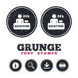Reception sign icon. Hotel registration table. Grunge post stamps. Reception sign icon. 24 hours Hotel registration table with administrator symbol. Information Royalty Free Stock Photos