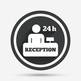 Reception sign icon. Hotel registration table. Reception sign icon. 24 hours Hotel registration table with administrator symbol. Circle flat button with shadow Stock Image