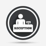 Reception sign icon. Hotel registration table. Reception sign icon. 24 hours Hotel registration table with administrator symbol. Circle flat button with shadow Royalty Free Stock Image