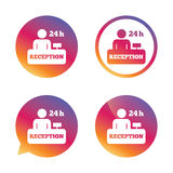 Reception sign icon. Hotel registration table. Reception sign icon. 24 hours Hotel registration table with administrator symbol. Gradient buttons with flat icon Royalty Free Stock Photo