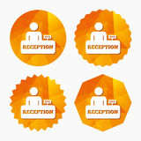 Reception sign icon. Hotel registration table. Reception sign icon. 24 hours Hotel registration table with administrator symbol. Triangular low poly buttons Stock Photography