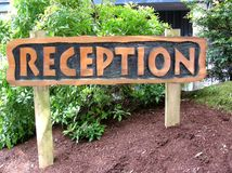 Reception sign. Travel concept. stock photo