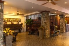 Reception and swimming pool of Thai hotel royalty free stock photography
