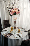 Reception table arrangement for wedding event Stock Image