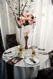 Reception table arrangement for wedding event Stock Image