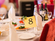 Reception Table Number Royalty Free Stock Photography