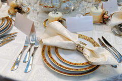 Wedding event. Elegant dinner reception table for wedding event Royalty Free Stock Photo