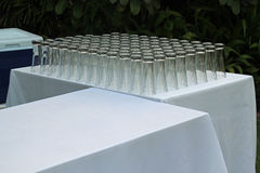 Reception tables and glasses Stock Images