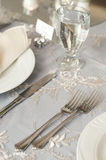 Reception tables. Table setting for wedding or anniversary reception Royalty Free Stock Photo