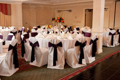 Reception tables stock photo