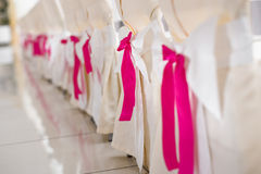 Reception wedding chairs. Decorated chairs on a party.Reception wedding royalty free stock image
