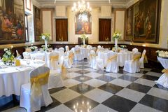 Reception wedding tables in monastery Royalty Free Stock Photos